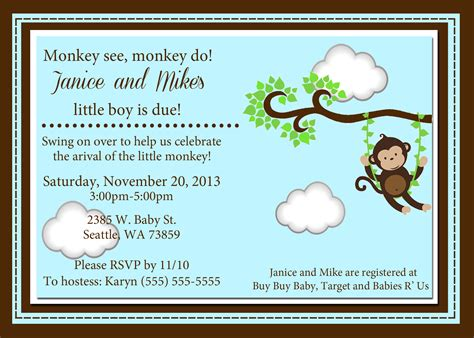 free monkey baby shower invitation templates monkey baby shower invitations kustom kreations