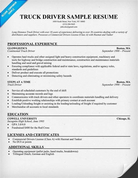 cdl truck driving resume sles sle resume for cdl truck drivers best professional resumes letters templates for free