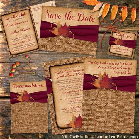 this stunning rustic fall wedding invitation in autumn