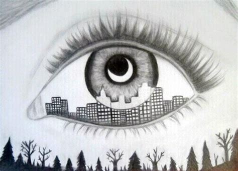 City Lights Eye Pencil eye of the city drawing the o jays