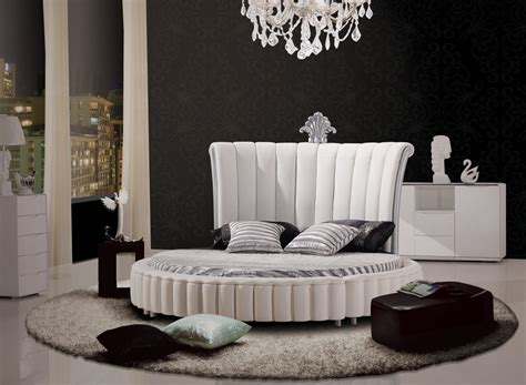 round bedroom furniture modrest c645 modern white bonded leather round bed w mattress