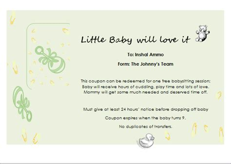 free printable gift certificates for babysitting babysitter gift certificate template for word document hub