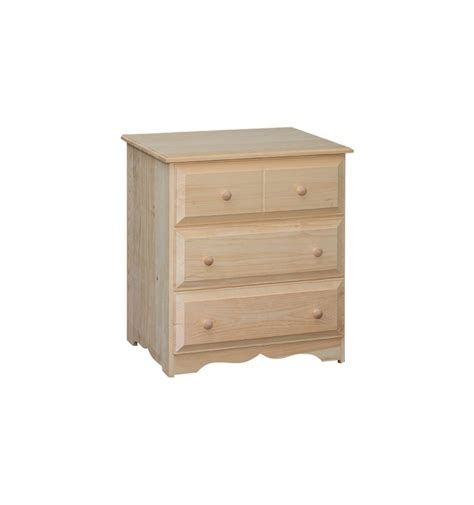 3 Drawer Nightstands 26 Inch 3 Drawer Nightstand Bare Wood Wood Furniture Groton Ct