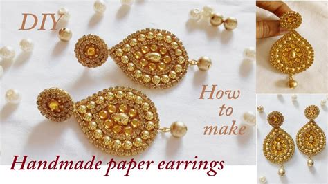 How To Make Earrings Out Of Paper - diy how to make designer earrings how to make paper