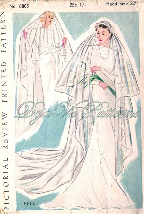 simple veil pattern pictorial review 8805 gorgeous vintage 1930s bridal veil