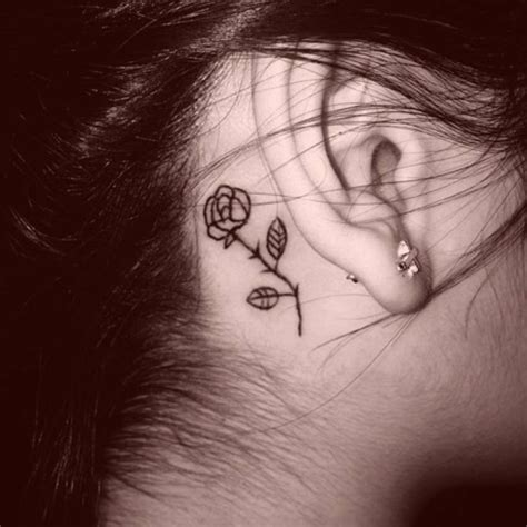 behind the ear rose tattoo collection of 25 ear
