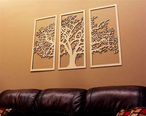 3 panel wall decor tree of 3d 3 panel tree wood wall beautiful tree