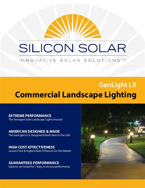 Commercial Solar Landscape Lighting Silicon Solar Brochure Genlight Lx Commercial Solar Landscape Light
