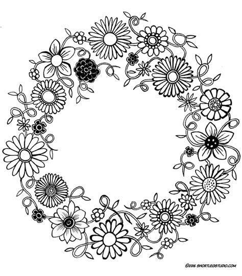 flower wreath coloring page meditative coloring sheets short leg studio