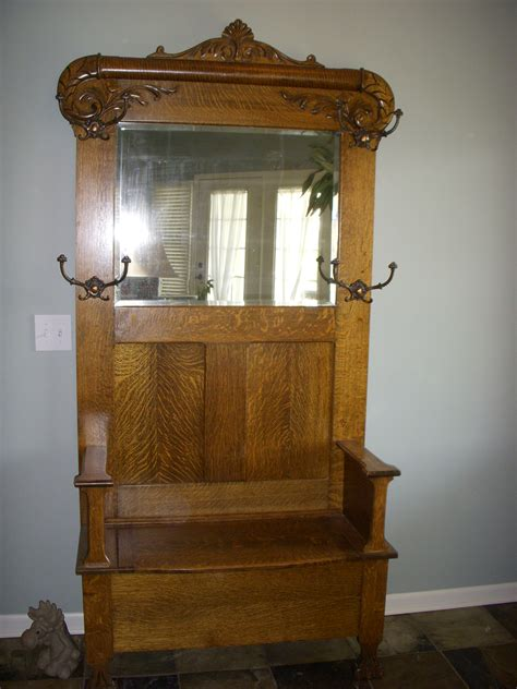 Entryway Bench With Storage And Coat Rack Quater Sawn Oak Hall Tree With Storage Seat For Sale