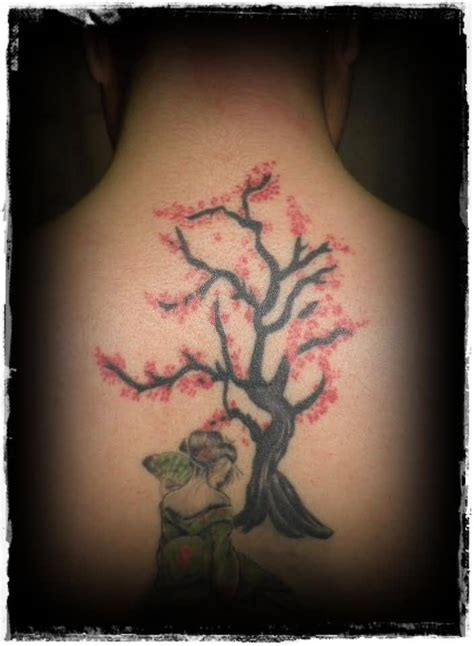 geisha tattoo with cherry blossoms geisha tattoo geisha n cherry blossom tree tattoo on