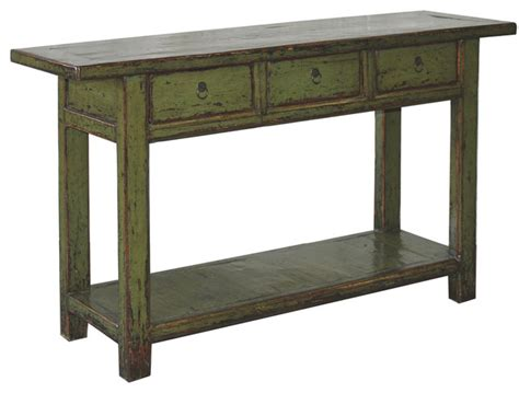 olive green lacquered console table asian console