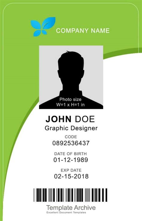 vertical id card template 16 id badge id card templates free template archive