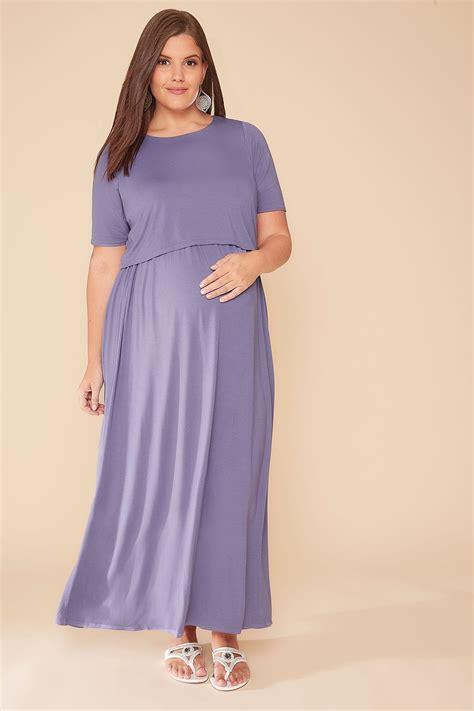 Asiyah Layer Dress Soft Purple bump it up maternity nursing dusky purple maxi
