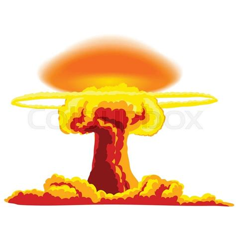 Nuclear explosion with dust. Orange and red illustration ... Explosion White Background