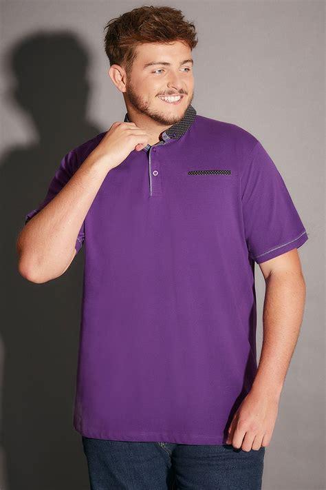 Shirt Collar Polka Ij purple polo shirt with contrast polka dot collar pocket trim size l to 4xl