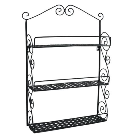 classic black metal wall mounted shelves kitchen