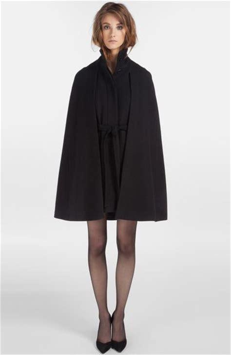wool blend cape coat maje depayser wool blend cape coat in black lyst