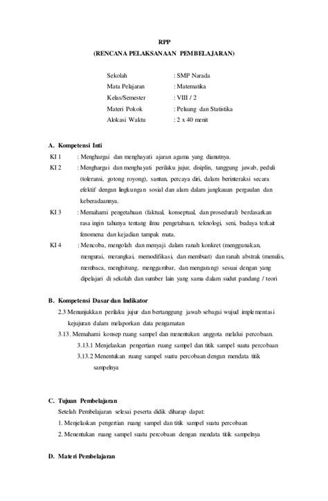 2 Bright An Course Kelas Viii Smp Kur 2013 Revisi Erlangga rpp peluang statistika math g 8 2014 2015 sem 2