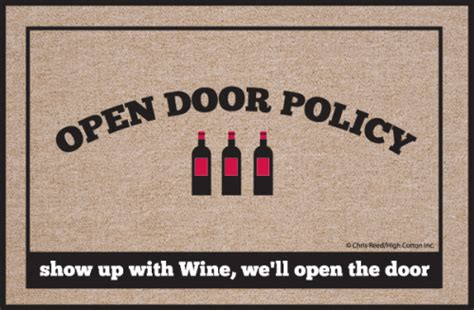 Wine Doormat open door policy wine doormat