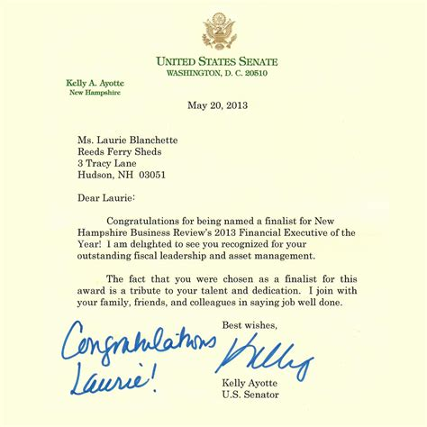 Excellent Service Letter U S Senator Ayotte Congratulates Reeds Ferry Manager Reeds Ferry Sheds