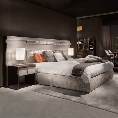 luxury italian bed with large nubuck leather headboard