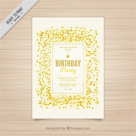 Golden Birthday Card Golden Confetti Birthday Card Vector Premium Download