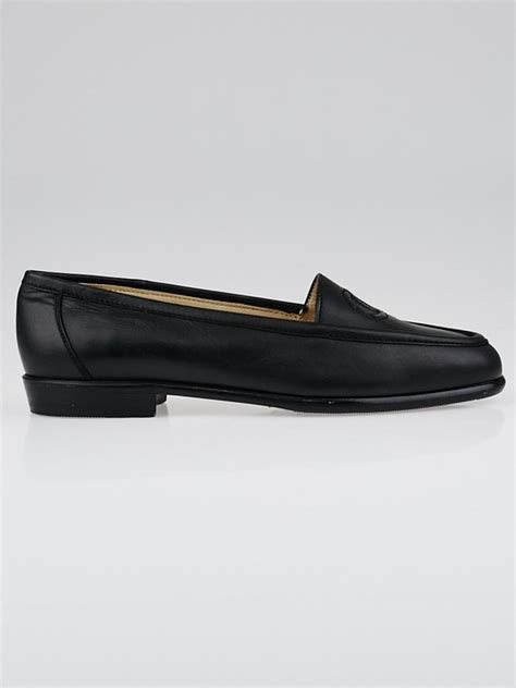 chanel black loafers chanel black leather cc logo loafers size 6 5 37 yoogi s