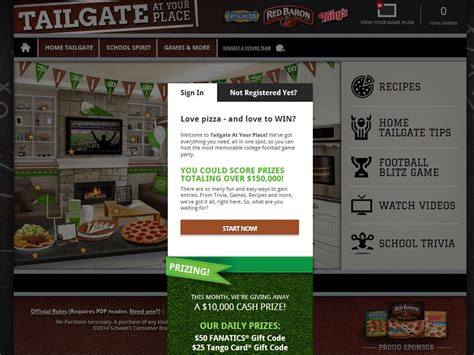 Red Baron Sweepstakes - red baron tailgate at your place sweepstakes