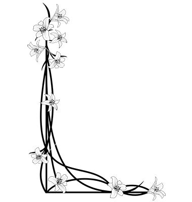 clip art of bw foliage border a black and white spring