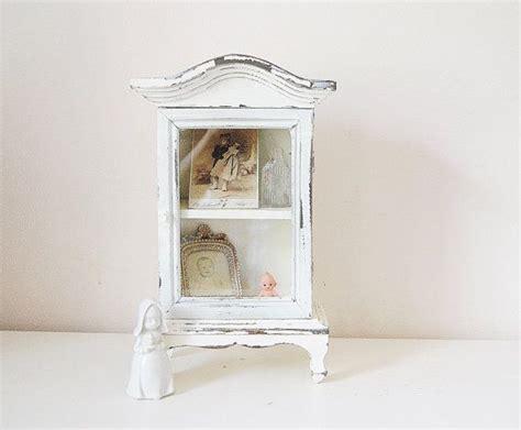 decorative wall curio cabinets small curio cabinet white vintage cottage decor shrine