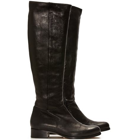 jimmy choo genna flat black leather fitted knee high