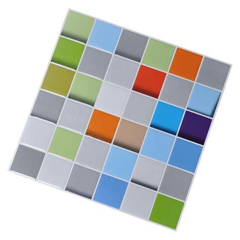 Self Adhesive Kitchen Backsplash Tiles Vinyl Peel And Stick Tiles Colorful 3d Square Design Set
