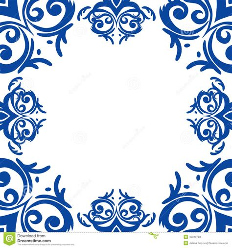 Light Blue Silk Curtains by Blue Frame Border In Damask Baroque Style Stock Vector