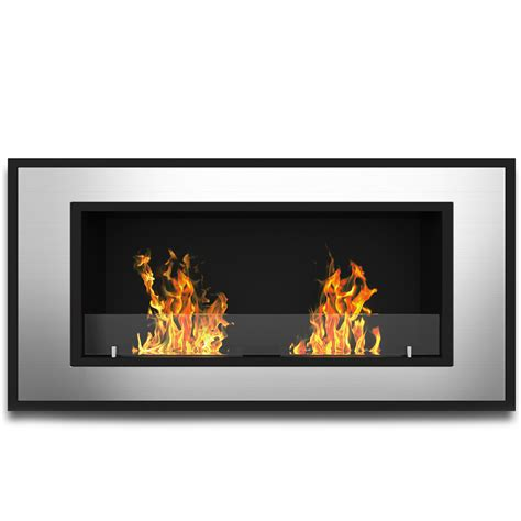 ethanol fireplace 47 inch ventless built in recessed bio ethanol wall