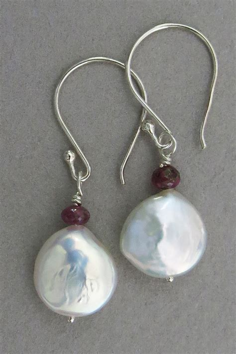 Handmade Pearl Earrings - handmade white coin pearl earrings handmade jewelry