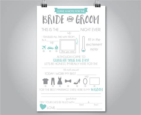 Wedding Mad Libs by Wedding Mad Libs Wedding Advice Card Fill In The Blank