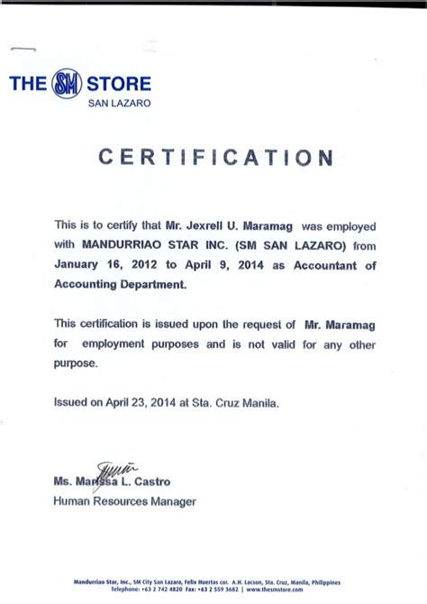 Certificate Of Employment Msi Sm Dep Store Certificate Of Employment Template