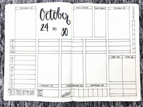 printable bullet journal template bullet journal weekly spread october 24 30 2016
