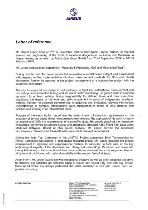 Recommendation Letter Operations Manager Letter Of Reference Airbus Operations Gmbh