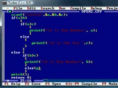 tutorial in c c programming tutorial 19 if else bigger of three in c c