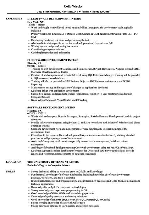 software development intern resume sles velvet