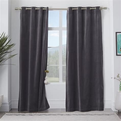velvet grommet curtains velvet grommet curtain iron west elm