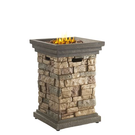 Lowes Outdoor Firepit Shop Bond Ridge 19 5 In W 40 000 Btu Brown Composite Liquid Propane Column At Lowes