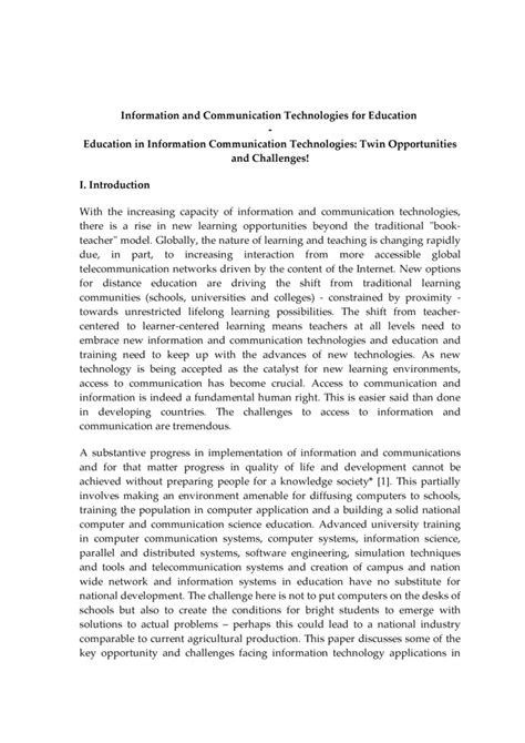 Introduction For Essay About Technology by Teachers Essay On Ict