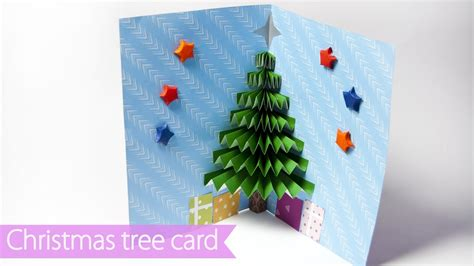 3d Christmas Pop Up Card How To Make A Paper Christmas Tree Pop Up Card Youtube 3d Tree Card Template