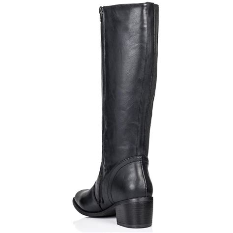 high heeled wide calf boots buy block heel knee high boots black leather