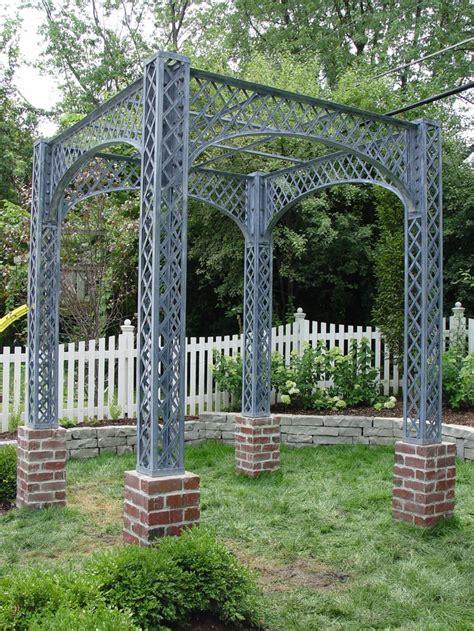 backyard lattice structures branch studio steel lattice pergola with brick piers pergola arbors pinterest