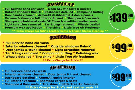 boat service price list auto detail packages cleanway car wash