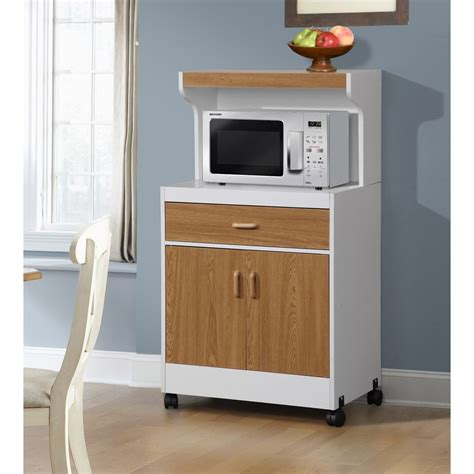 New Rolling Microwave Cart Wooden Shelf Cabinet Drawer Kitchen Storage Carts Cabinets